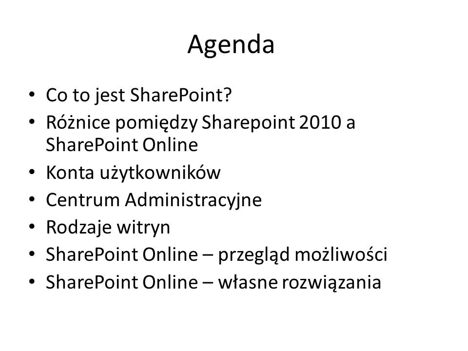 Agenda Co to jest SharePoint