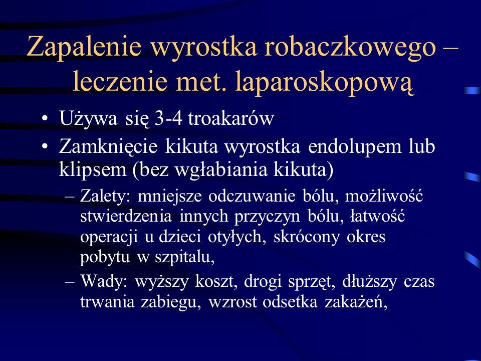 Zapalenie wyrostka robaczkowego – leczenie met. laparoskopową