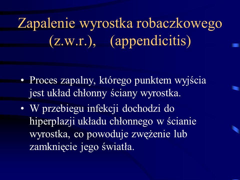 Zapalenie wyrostka robaczkowego (z.w.r.), (appendicitis)
