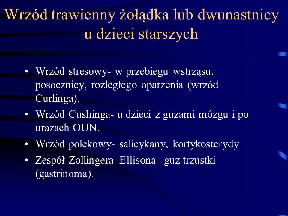 Wrzód trawienny żołądka lub dwunastnicy u dzieci starszych