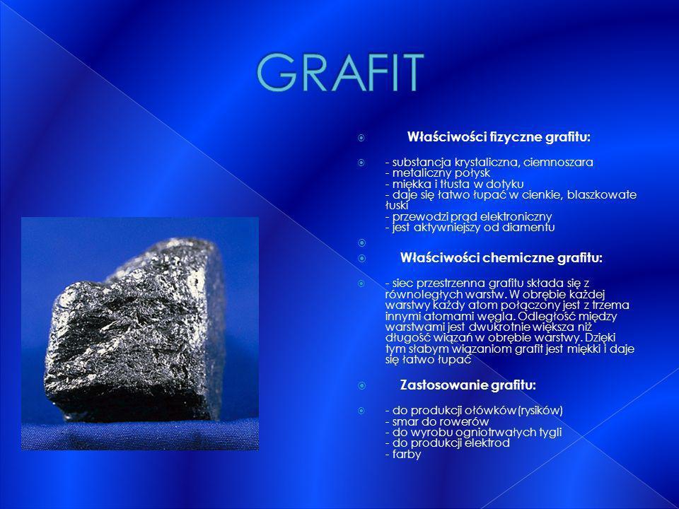 GRAFIT Właściwości chemiczne grafitu: Zastosowanie grafitu: