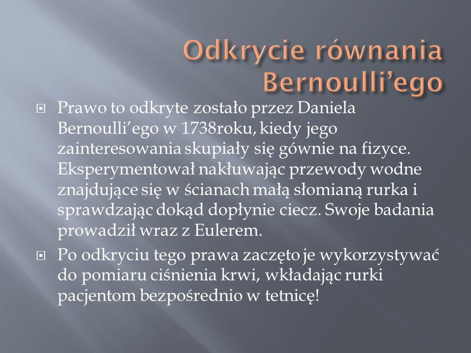 Odkrycie równania Bernoulli'ego