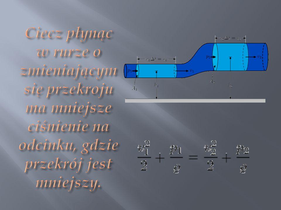 Ciecz płynąc w rurze o zmieniającym się przekroju ma mniejsze ciśnienie na odcinku, gdzie przekrój jest mniejszy.