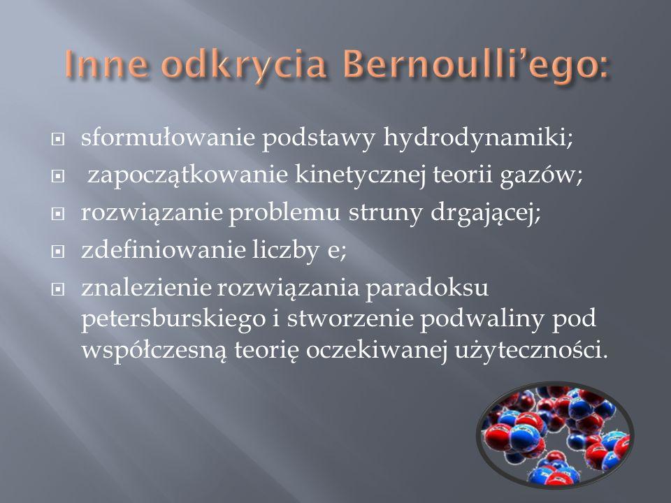 Inne odkrycia Bernoulli'ego: