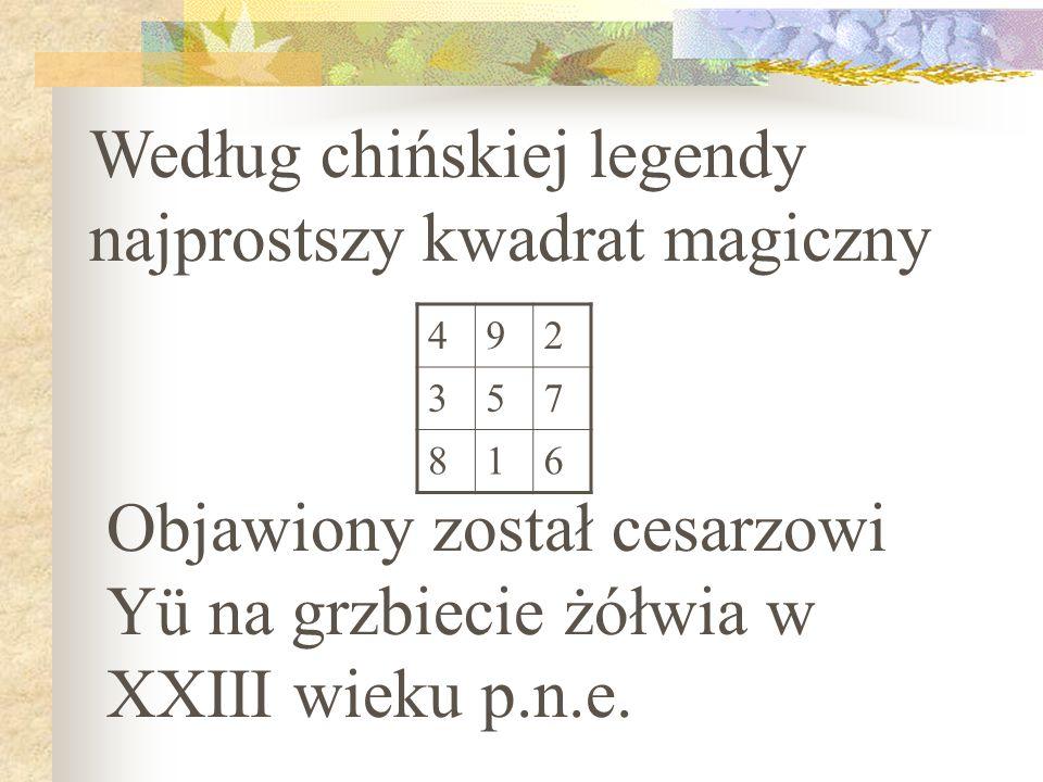 Według chińskiej legendy najprostszy kwadrat magiczny