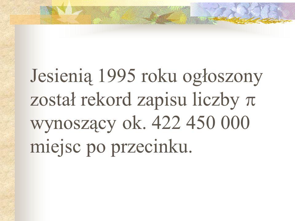 Jesienią 1995 roku ogłoszony został rekord zapisu liczby  wynoszący ok.