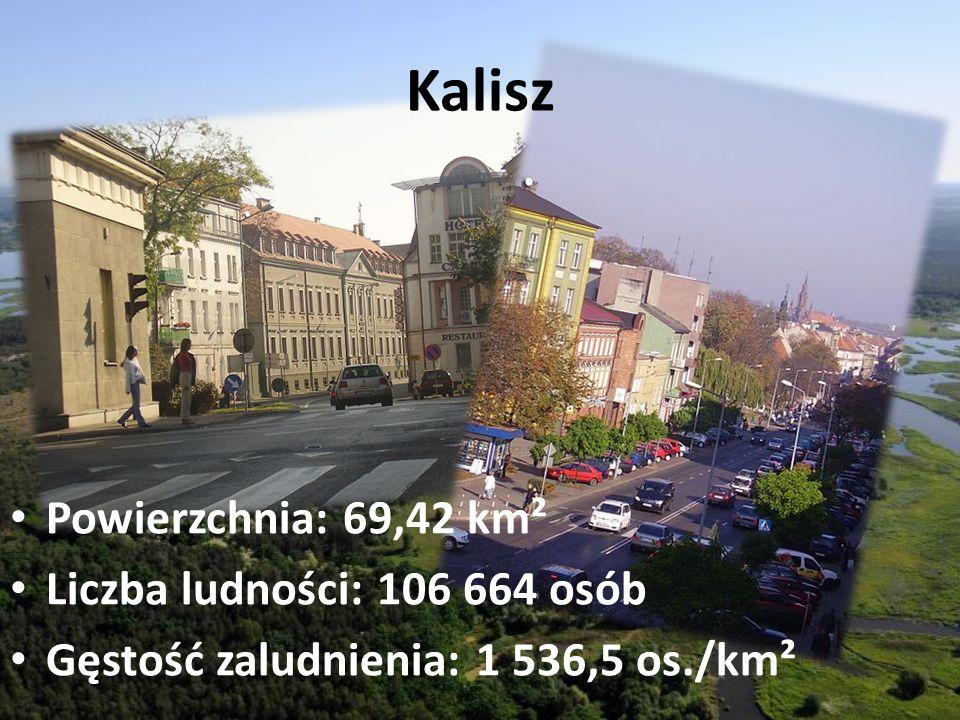 Kalisz Powierzchnia: 69,42 km² Liczba ludności: 106 664 osób