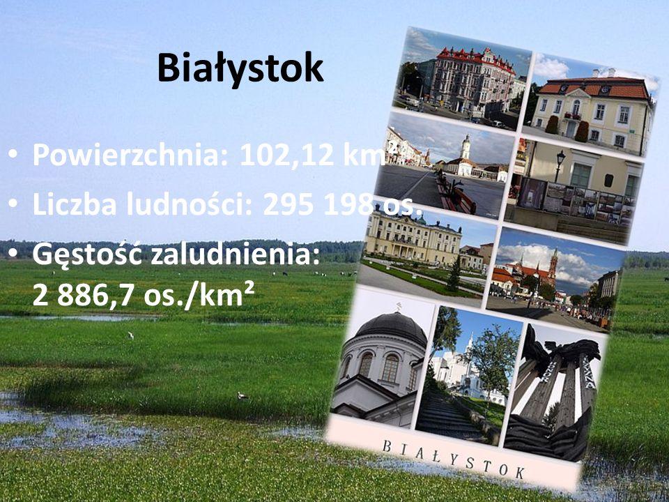Białystok Powierzchnia: 102,12 km² Liczba ludności: 295 198 os.