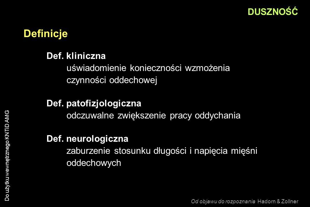 DUSZNOŚĆ Definicje. Def. kliniczna uświadomienie konieczności wzmożenia czynności oddechowej.