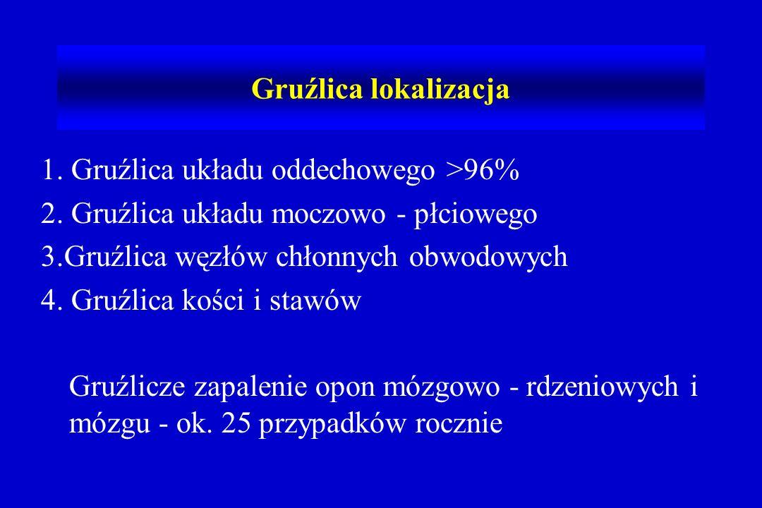 Gruźlica lokalizacja 1. Gruźlica układu oddechowego >96% 2. Gruźlica układu moczowo - płciowego. 3.Gruźlica węzłów chłonnych obwodowych.