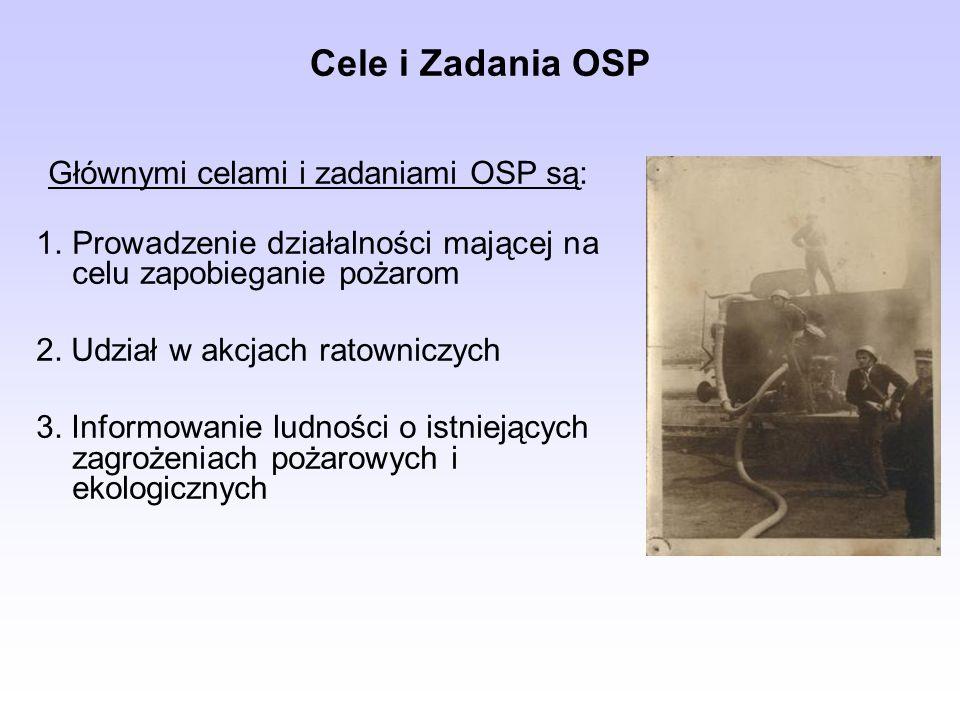 Cele i Zadania OSP Głównymi celami i zadaniami OSP są: Prowadzenie działalności mającej na celu zapobieganie pożarom.