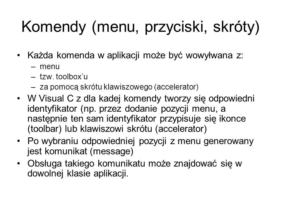 Komendy (menu, przyciski, skróty)