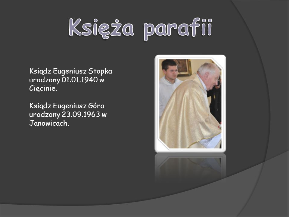 Księża parafii Ksiądz Eugeniusz Stopka urodzony 01.01.1940 w Cięcinie.