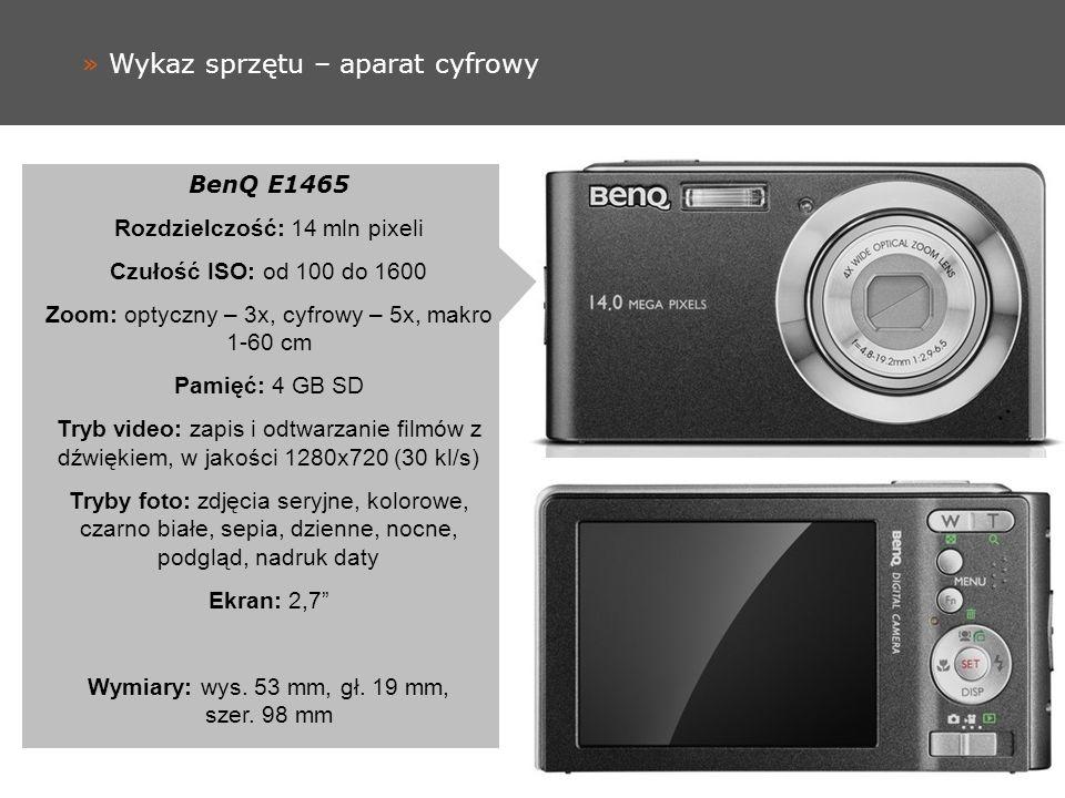 » Wykaz sprzętu – aparat cyfrowy