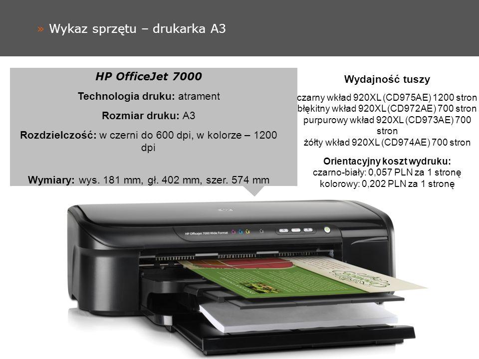 » Wykaz sprzętu – drukarka A3