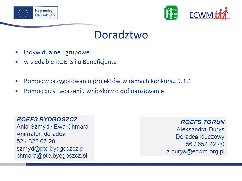 Doradztwo indywidualne i grupowe w siedzibie ROEFS i u Beneficjenta