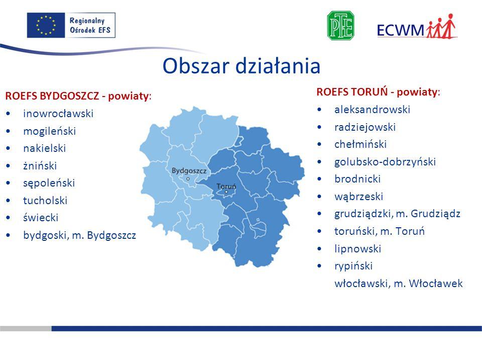 Obszar działania ROEFS TORUŃ - powiaty: ROEFS BYDGOSZCZ - powiaty: