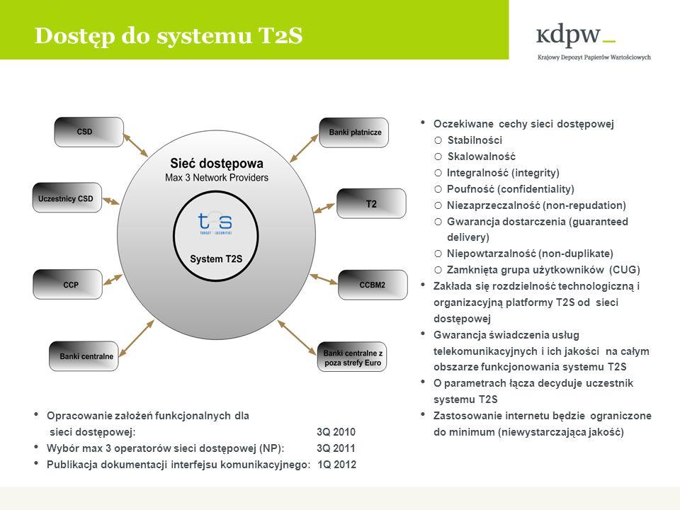 Dostęp do systemu T2S Oczekiwane cechy sieci dostępowej Stabilności
