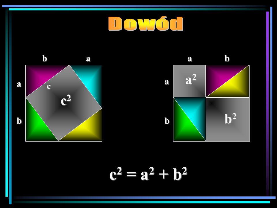 Dowód b a a b a2 a a c c2 b2 b b c2 = a2 + b2