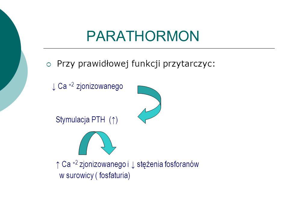 PARATHORMON Przy prawidłowej funkcji przytarczyc: