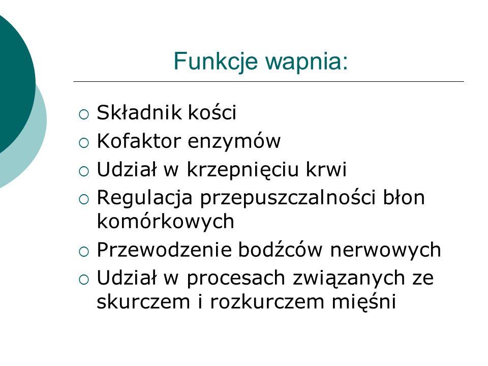 Funkcje wapnia: Składnik kości Kofaktor enzymów