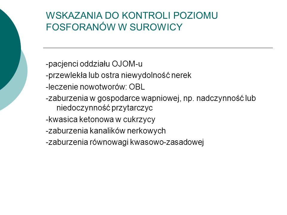 WSKAZANIA DO KONTROLI POZIOMU FOSFORANÓW W SUROWICY