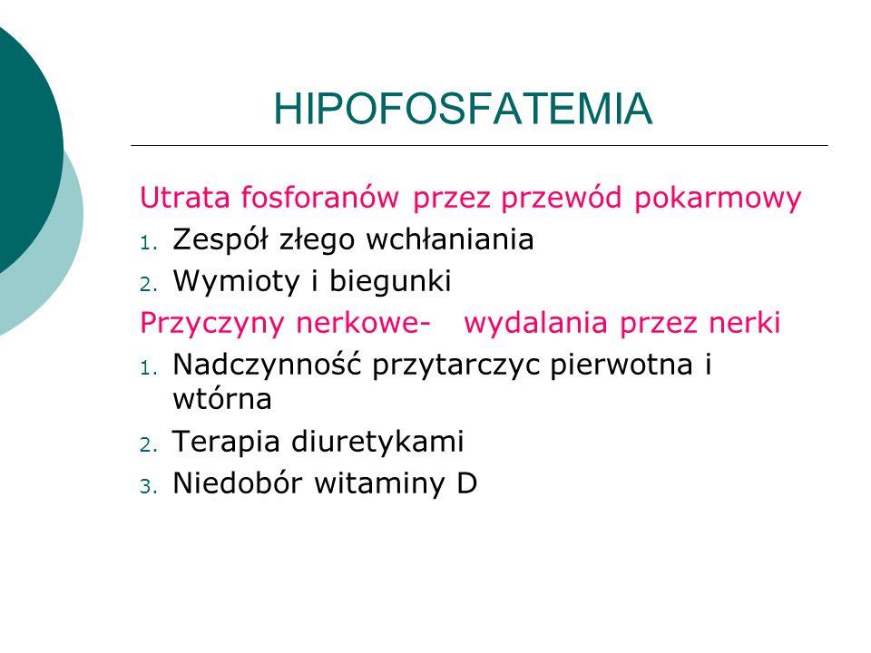 HIPOFOSFATEMIA Utrata fosforanów przez przewód pokarmowy