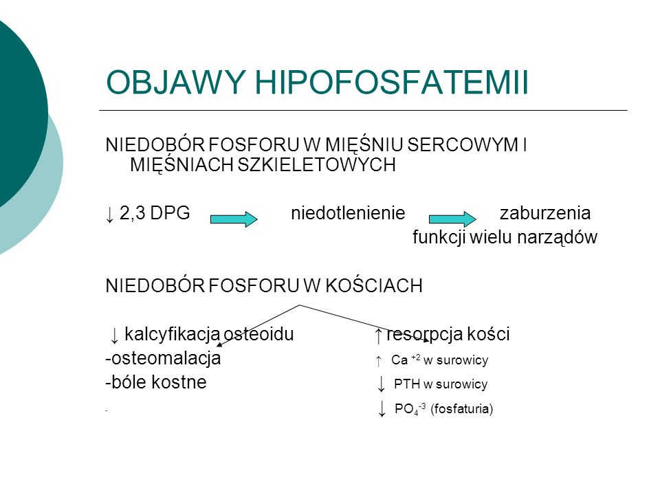 OBJAWY HIPOFOSFATEMII