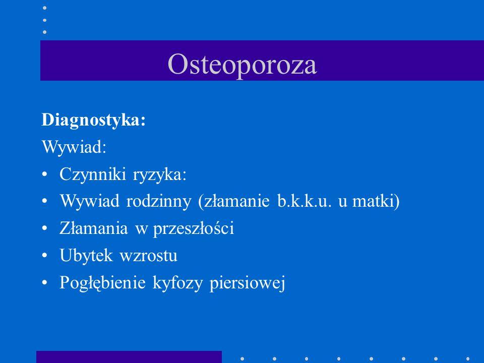 Osteoporoza Diagnostyka: Wywiad: Czynniki ryzyka: