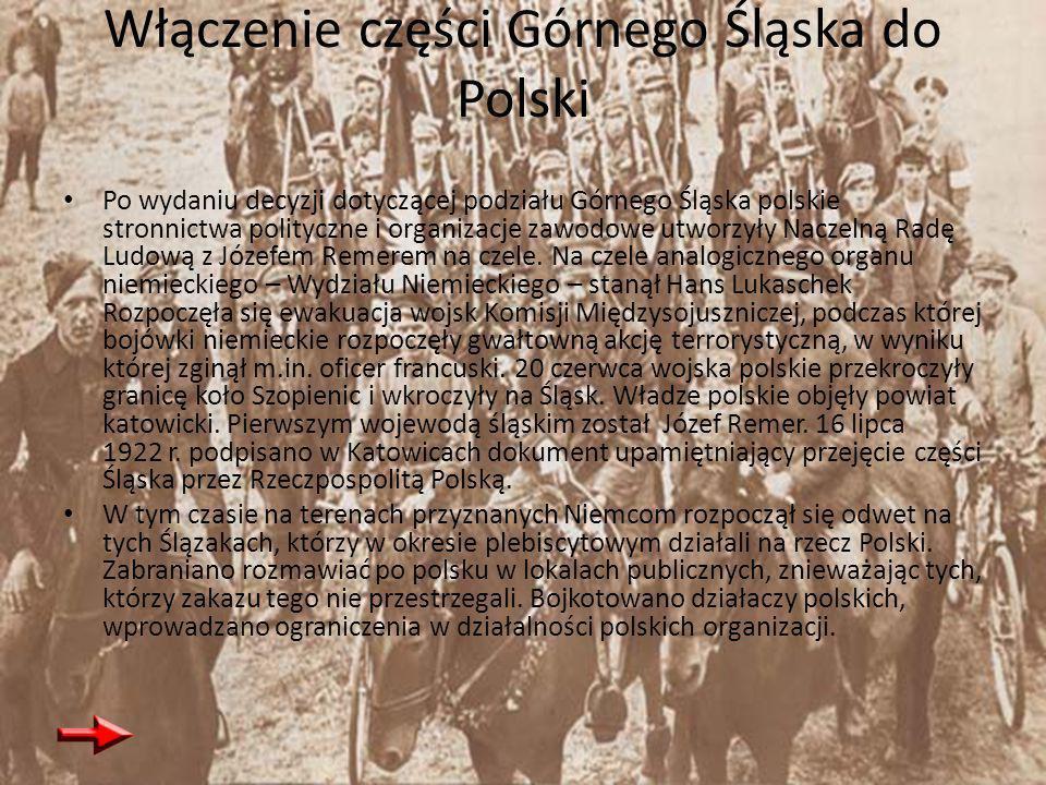Włączenie części Górnego Śląska do Polski