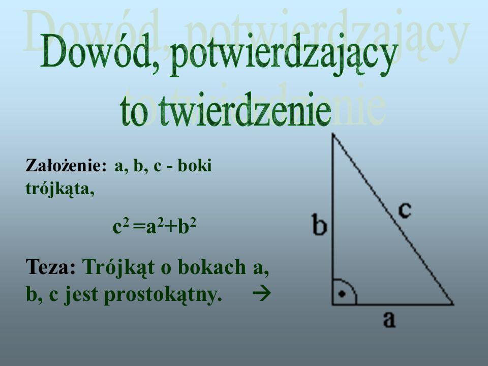 Dowód, potwierdzający to twierdzenie c2 =a2+b2
