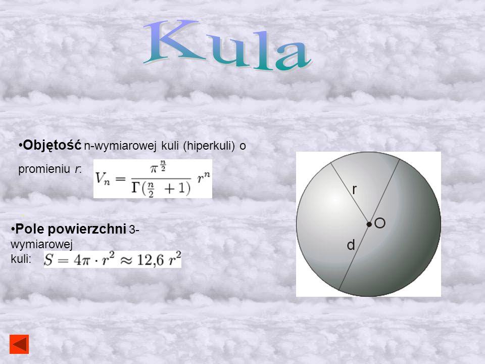Kula Objętość n-wymiarowej kuli (hiperkuli) o promieniu r: