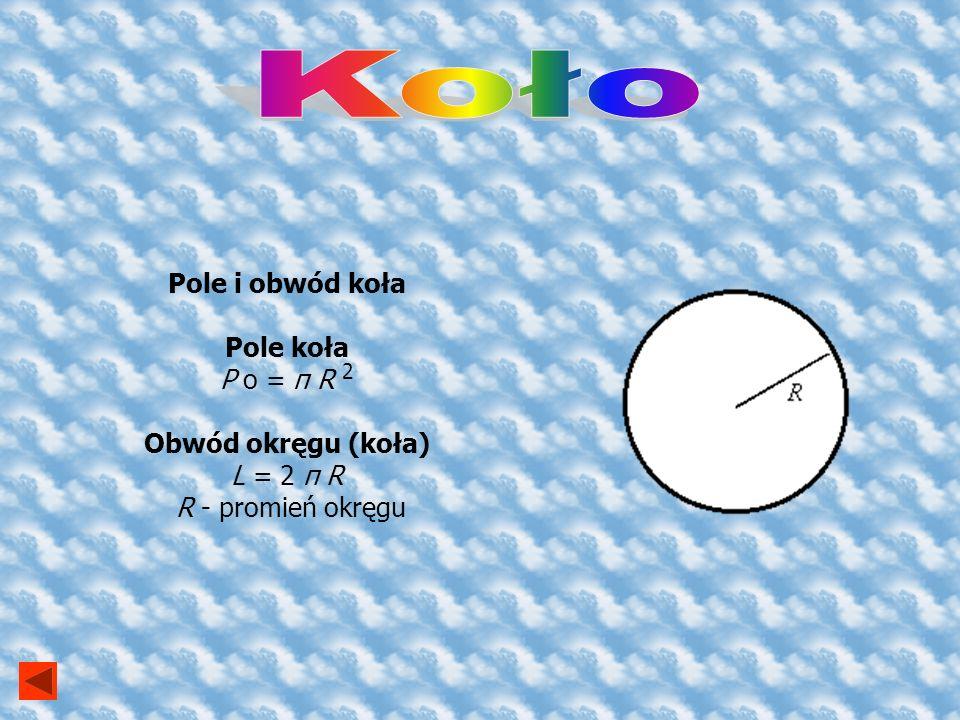 Koło Pole i obwód koła Pole koła P o = π R 2 Obwód okręgu (koła)