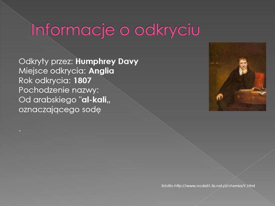 Informacje o odkryciu Odkryty przez: Humphrey Davy