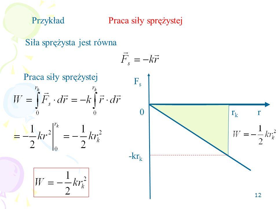 Przykład Praca siły sprężystej Siła sprężysta jest równa Praca siły sprężystej Fs rk r -krk