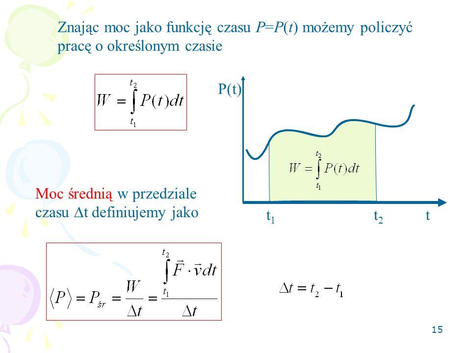 Znając moc jako funkcję czasu P=P(t) możemy policzyć pracę o określonym czasie
