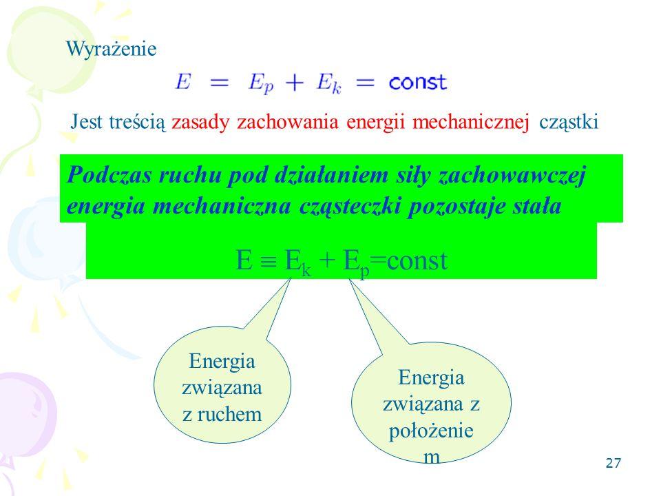 Wyrażenie Jest treścią zasady zachowania energii mechanicznej cząstki.