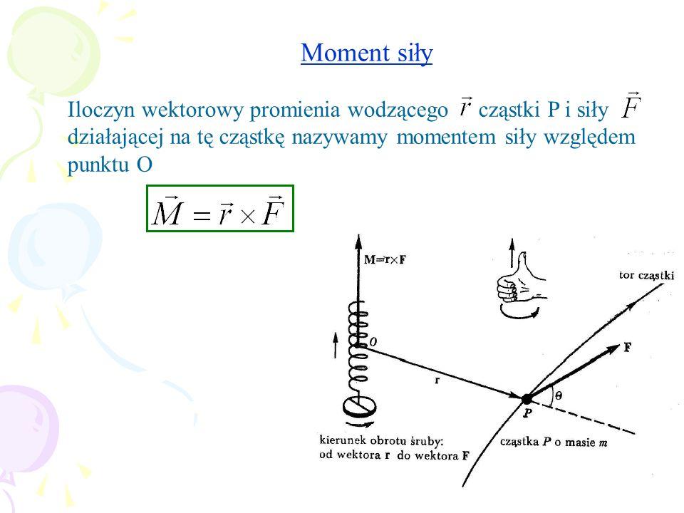 Moment siły Iloczyn wektorowy promienia wodzącego cząstki P i siły działającej na tę cząstkę nazywamy momentem siły względem punktu O.