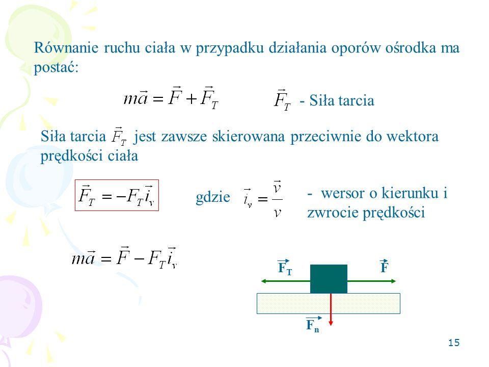 Równanie ruchu ciała w przypadku działania oporów ośrodka ma postać: