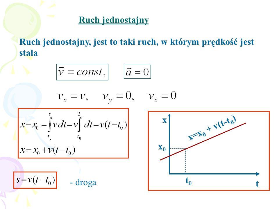 Ruch jednostajny Ruch jednostajny, jest to taki ruch, w którym prędkość jest stała. x. t. x=x0 + v(t-t0)