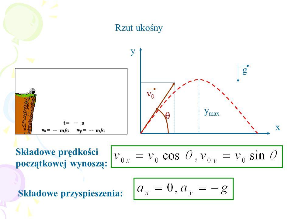 Rzut ukośny y x v0  ymax g Składowe prędkości początkowej wynoszą: Składowe przyspieszenia: