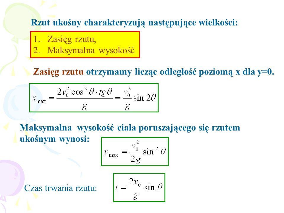 Rzut ukośny charakteryzują następujące wielkości:
