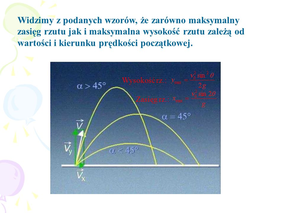 Widzimy z podanych wzorów, że zarówno maksymalny zasięg rzutu jak i maksymalna wysokość rzutu zależą od wartości i kierunku prędkości początkowej.