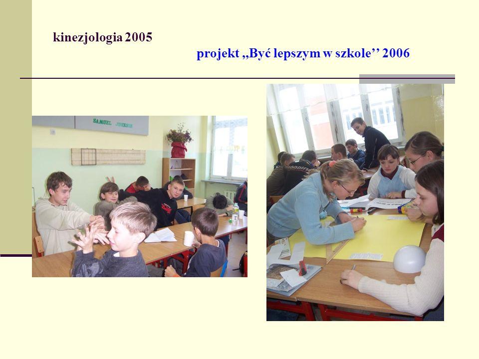 kinezjologia 2005 projekt ,,Być lepszym w szkole'' 2006