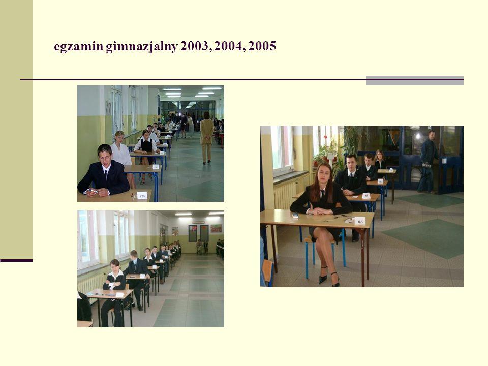 egzamin gimnazjalny 2003, 2004, 2005