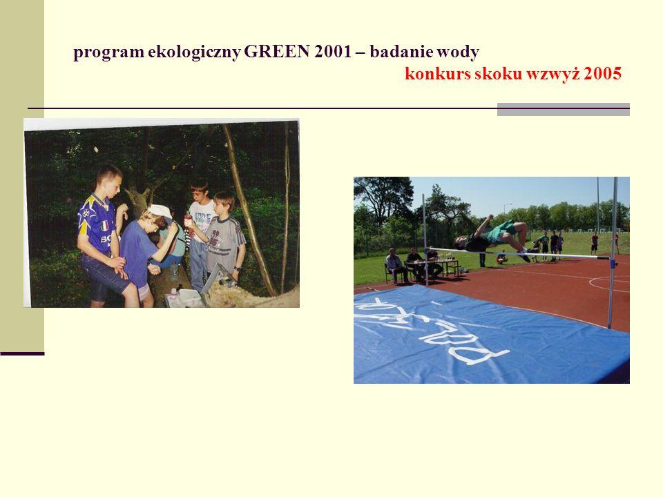 program ekologiczny GREEN 2001 – badanie wody konkurs skoku wzwyż 2005