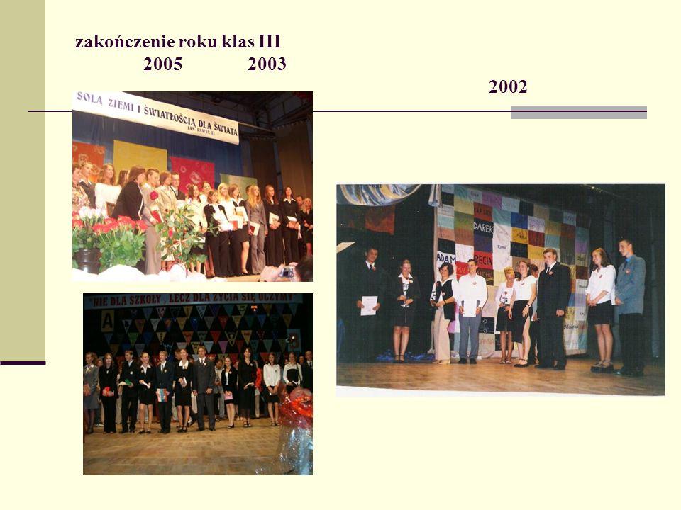 zakończenie roku klas III 2005 2003 2002
