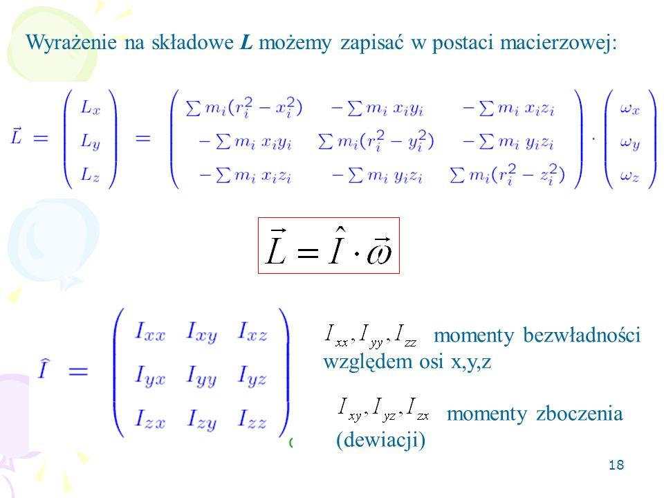 Wyrażenie na składowe L możemy zapisać w postaci macierzowej: