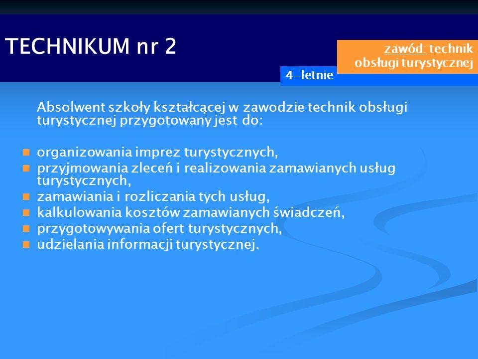 TECHNIKUM nr 2 zawód: technik obsługi turystycznej. 4-letnie.