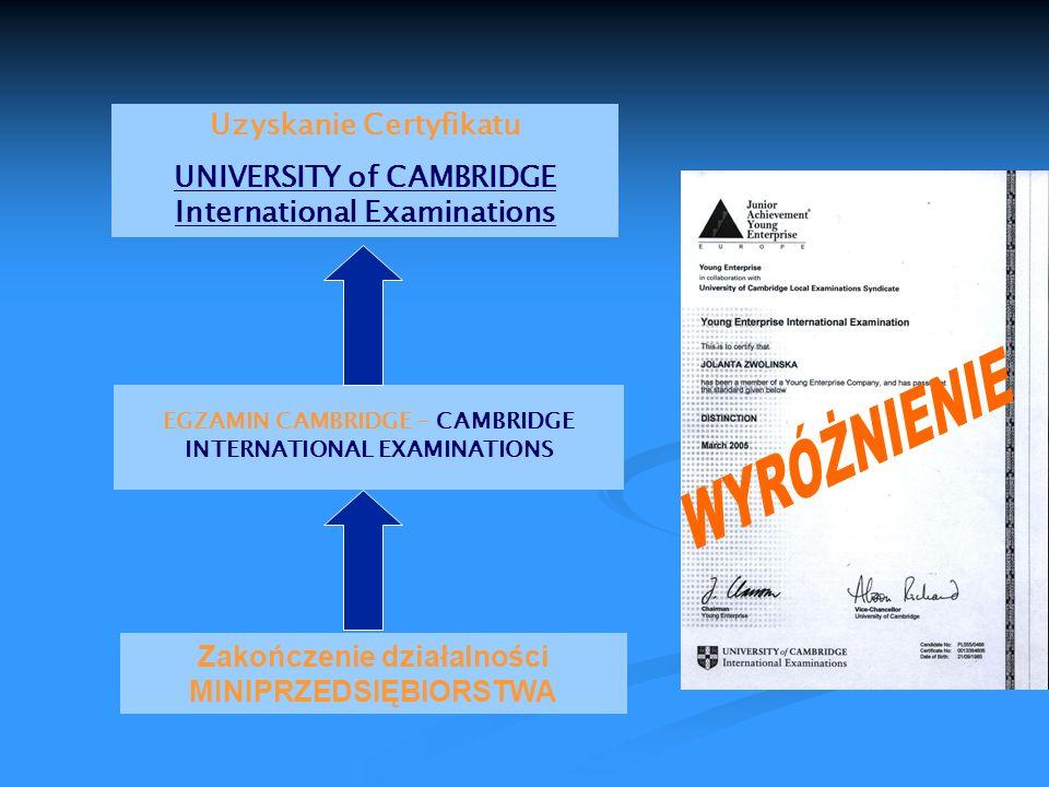 WYRÓŻNIENIE Uzyskanie Certyfikatu